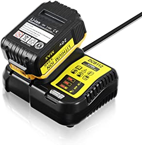 LANMU Charger for Dewalt DCB112 12V 20V MAX Lithium Ion Battery, Fits Models DCB101, DCB102, DCB107, DCB115, DCB200, DCB201, DCB203, DCB204, DCB205 and More