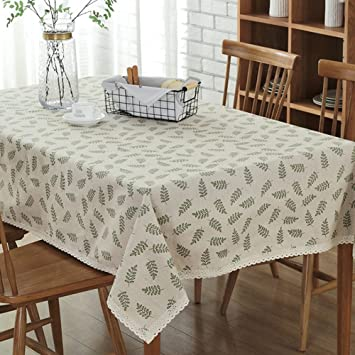 Toechmo Vintage Square Cotton Linen Lace Leaves Tablecloth, Washable  Tablecloth Dinner Picnic Table Cloth Home