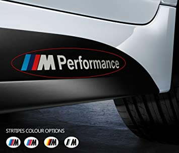2 X For Bmw M Performance Car Vinyl Stickers Bumper Window Side Skirt Decal Graphics