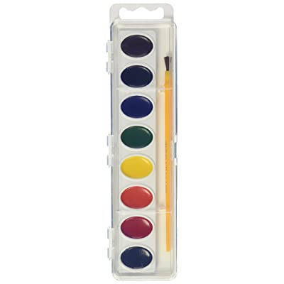 Crayola Artista 8 Semi-Moist Oval Pans Watercolor Set with Brush: Toys & Games