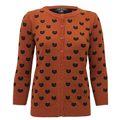 Amazon.com: Mak Black Cats Halloween Sweater Orange Small: Clothing