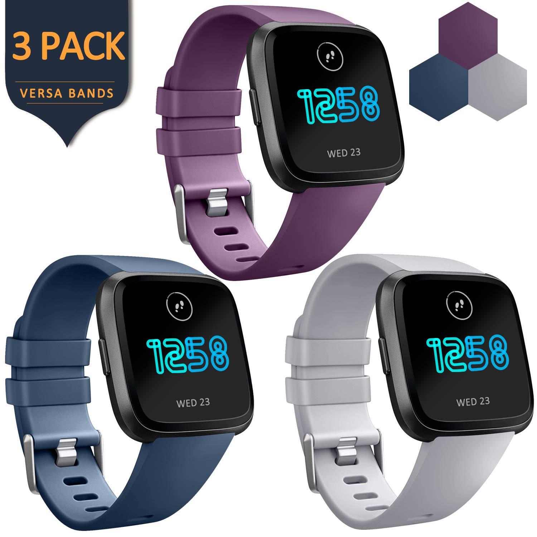 AKバンドfor Fitbit Flex 2、調節可能なスポーツフィットネスアクセサリー交換用リストバンドFitbit Flex用2バンド B07GWP2LQG Gray, Navy Blue, Purple Large
