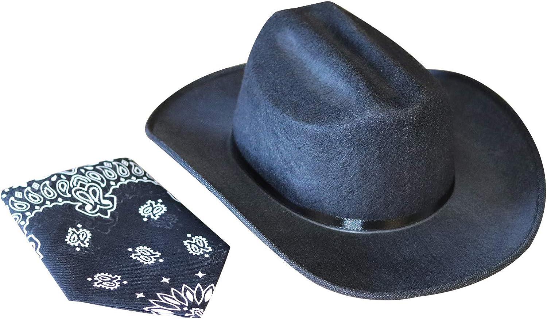 Aeromax Junior Cowboy Hat with Bandanna, Black