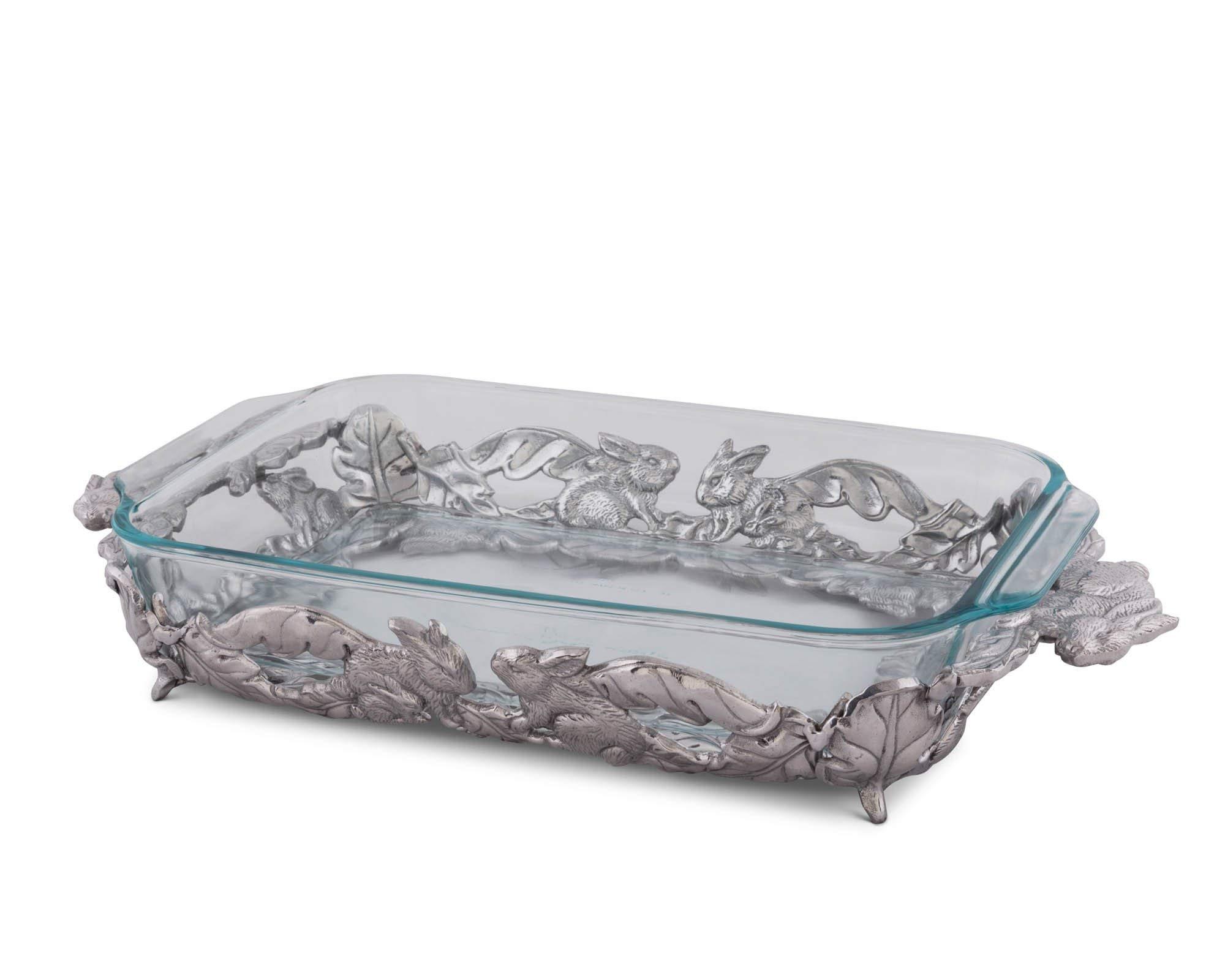 Arthur Court Designs Aluminum Bunny Pattern Pyrex Casserole Dish Holder 18'' 3 Quart Pyrex