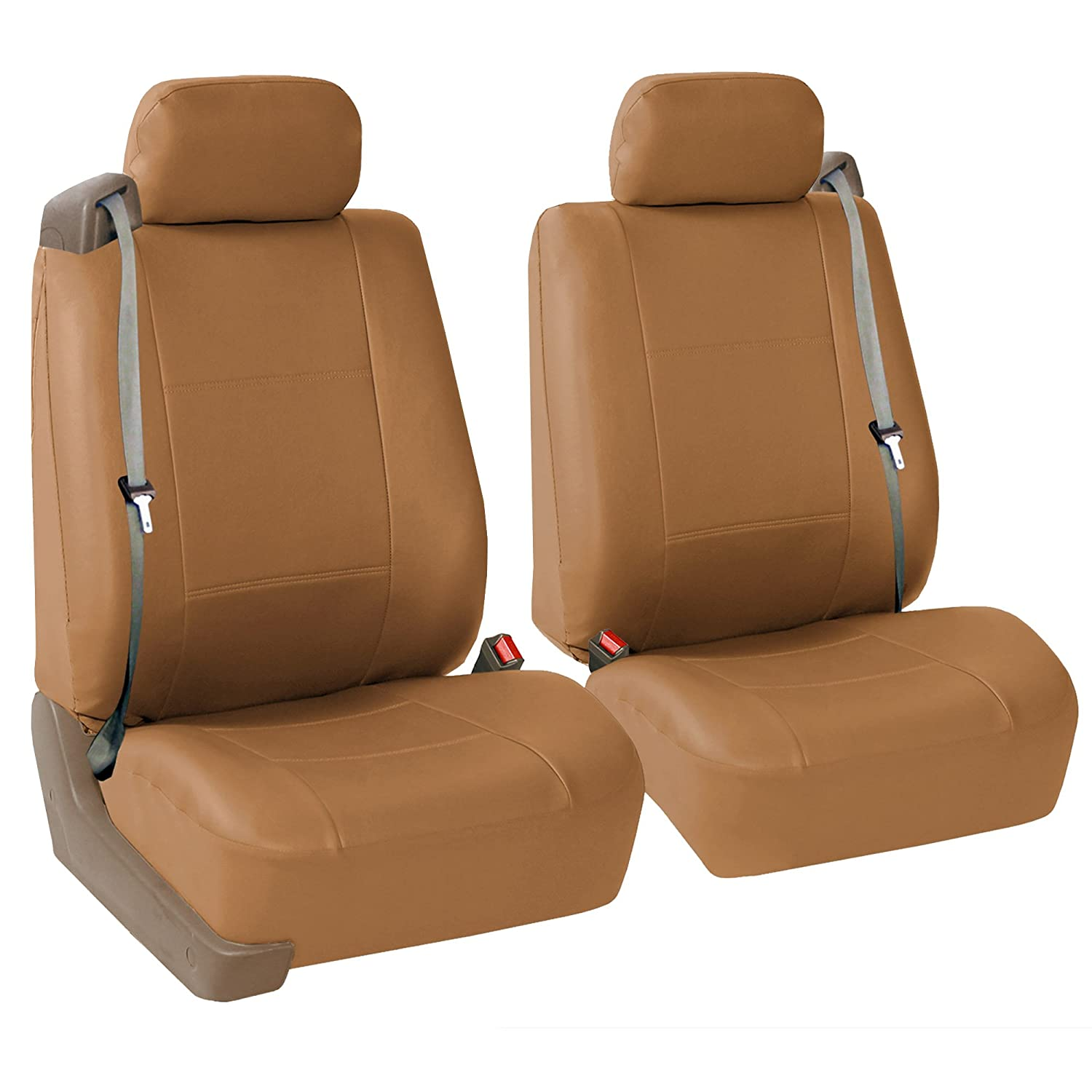FH-PU002115 Classic PU Leather Car Seat Covers, Airbag compatible and Split Bench, Grey and Black color FH Group 00221115