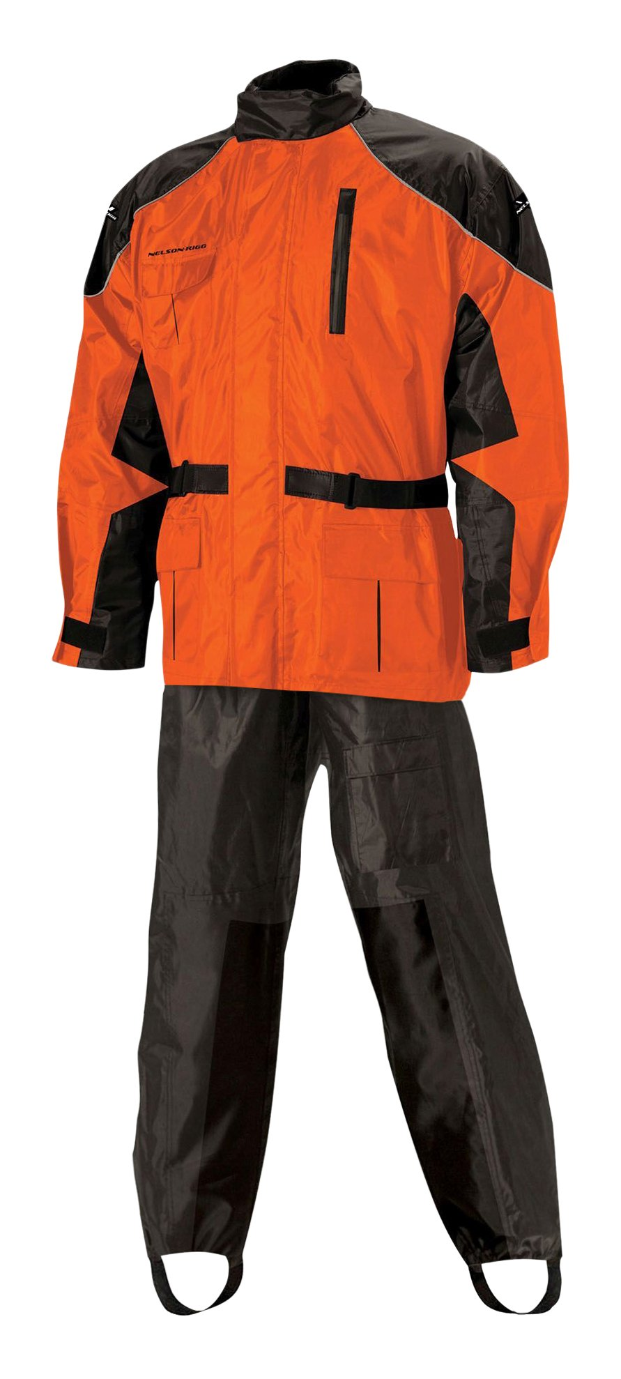 Nelson Rigg AS-3000-ORG-01-SM Unisex-Adult AS-3000 Aston Motorcycle Rain Suit 2-Piece, (Orange, Small), Large)