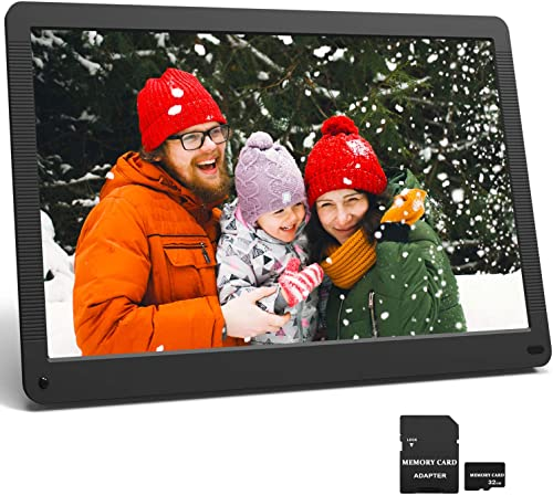 17.3 Inch Digital Picture Frame 1920×1080 16 9 Ratio Screen, Motion Sensor, Photo Auto Rotate, HD Video Frame, Background Music, Auto Play, Auto Time On Off, Wall Mounted Stand, Include 32GB SD Card