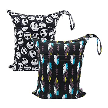3 Waterproof Soiled Baby Items Pool Wet Bags Daycare Washable Reusable,Travel Cloth Diaper Wet//Dry Bags Yoga Beach 2 Zippered Pockets Gym Bag for Swimsuit or Wet Clothes