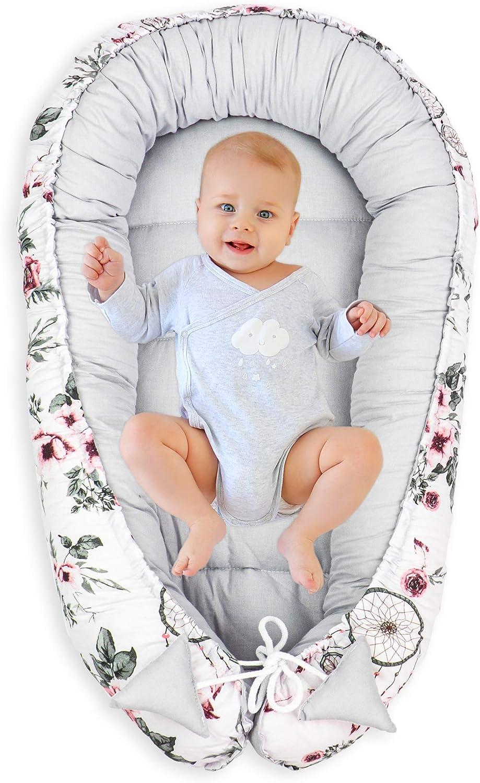KOERIM Riduttore Lettino Baby Nest Nido per Letto Culla Paracolpi Nido Portatile,17 Colori,Cotone