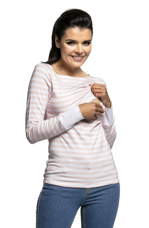 HAPPY MAMA Women\'s Maternity Nursing T-Shirt Layer Design Striped - 101c nursing_top_101