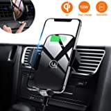 Usams Wireless Car Phone Charger Holder, 10W Qi Air Vent Mount For XS Max XR X 8 Plus, Samsung Galaxy S9 S8 S7 S6 Note 8/9 All QI Enabled Phone (Black- glass)