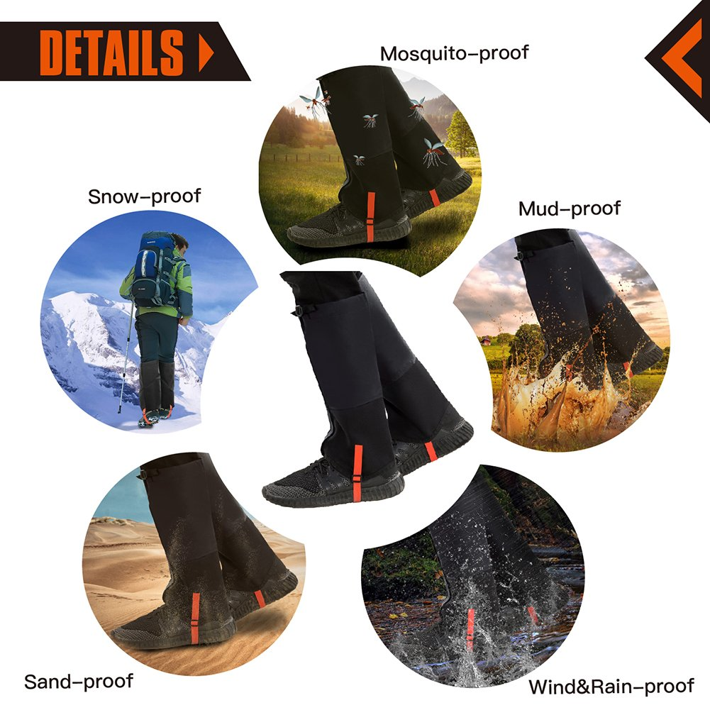KingCamp Unisex Ultra-Light Waterproof Outdoor Hiking Walking Climbing Hunting Snow Legging Gaiters (1 Pair) (Black, L)