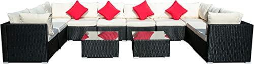 Outdoor Patio Furniture 12-Pieces PE Rattan Wicker Sectional Beige Cushioned Sofa Set