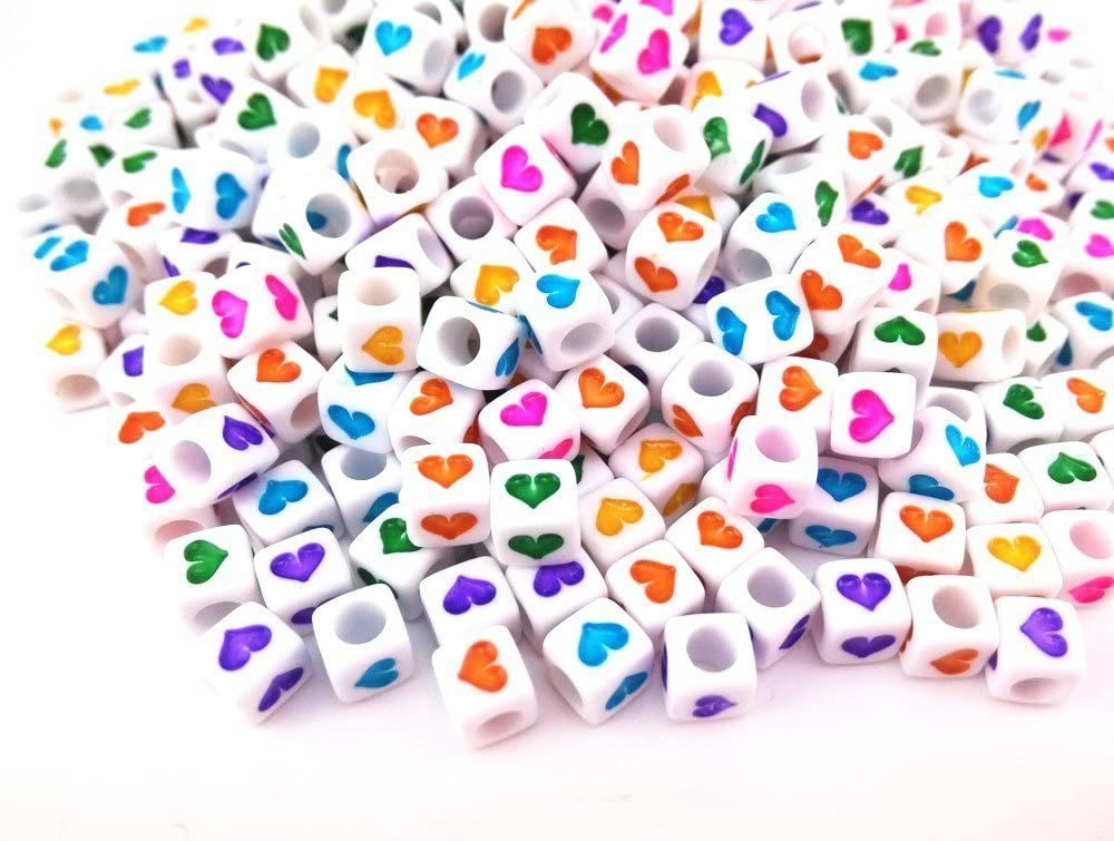 7mm x 7mm DIY Square Letter Beads White Heart Acrylic Letter Beads 300PCS