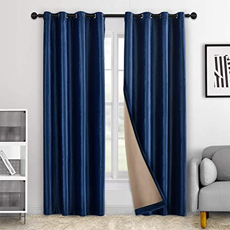 Navy Blue 14/' Extra Long Velvet Curtain Panel w//Grommet Top Eyelets Window Drape