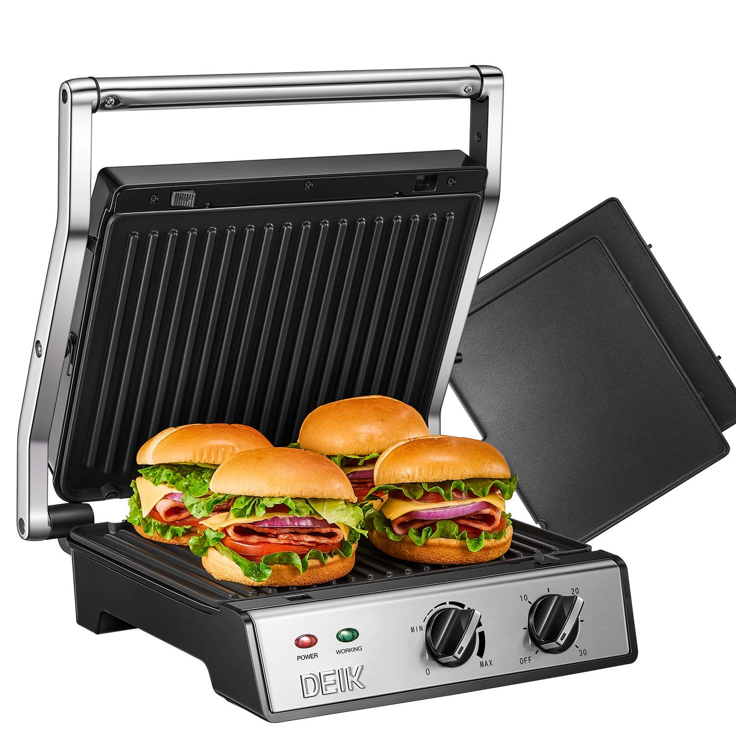 DEIK Panini Press, 6-in-1 Smokeless Indoor Grill with Timer and Temperature Control, 4 Non-Stick Removable Plates, Opens 180 Degrees for Panini, Grilled Meat, Steaks by Deik