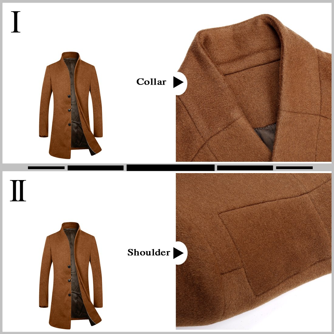 APTRO Men's Wool French Front Slim Fit Long Business Coat 1681 DZDY Camel S by APTRO (Image #2)
