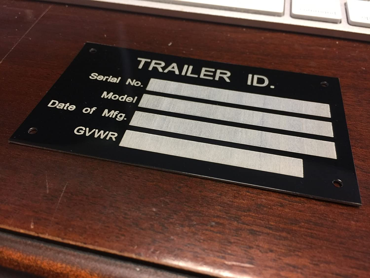 Aluminum Trailer ID Replacement Tag Vin Plate Serial GVWR Medical Blank  Black