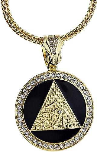 Bling Cartel Pyramid Eye Medallion Pendant Gold Tone & Black ...