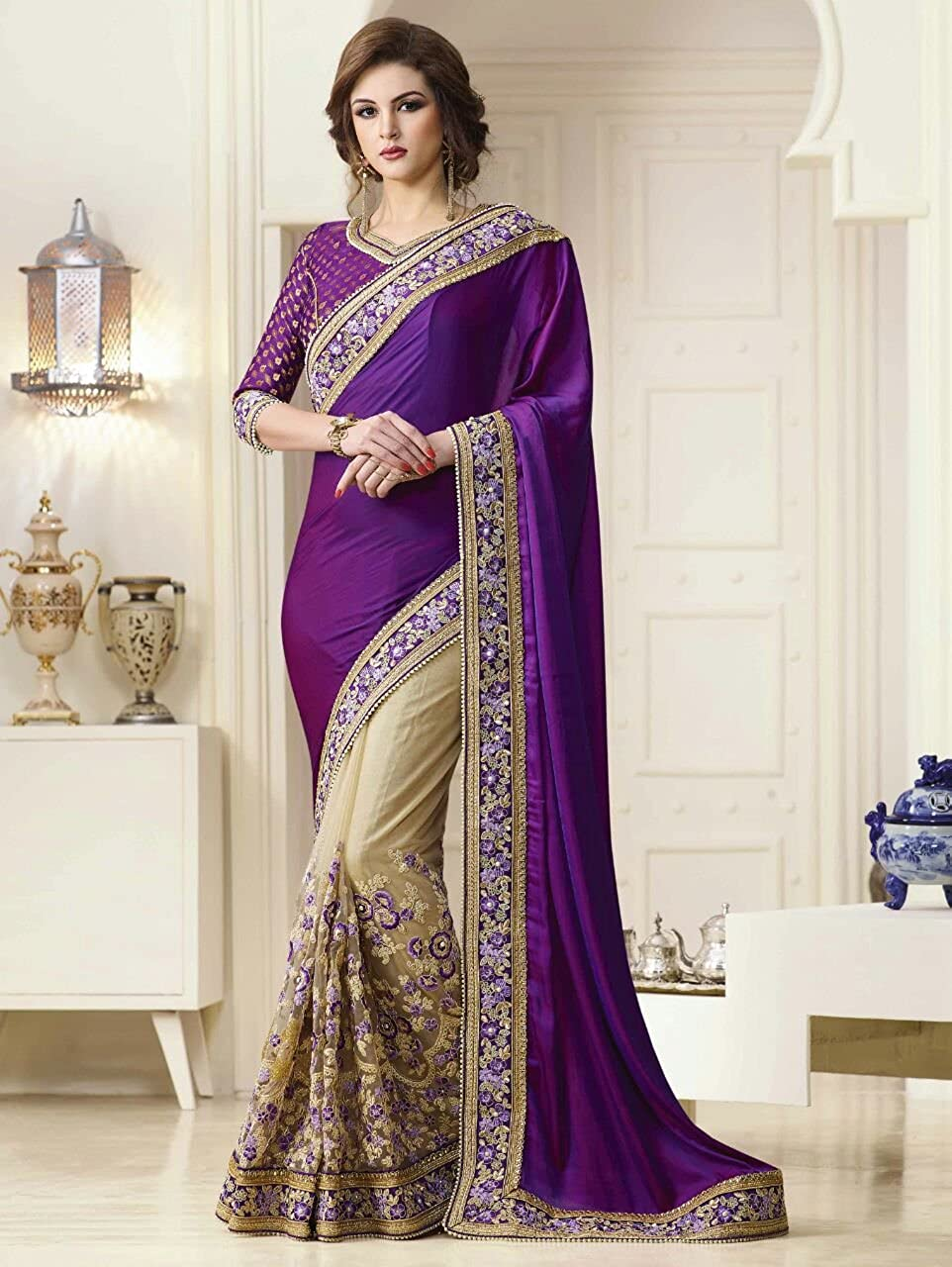 Fab Zone Indian Designer Paper Silk /& Net Embriodery Work Saree with Unstitched Blouse Piece