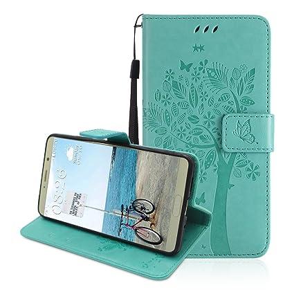 Funda Piel para Huawei Mate 10, Moon mood Magnet Billetera Funda de Cuero on Tapas y Cartera ...