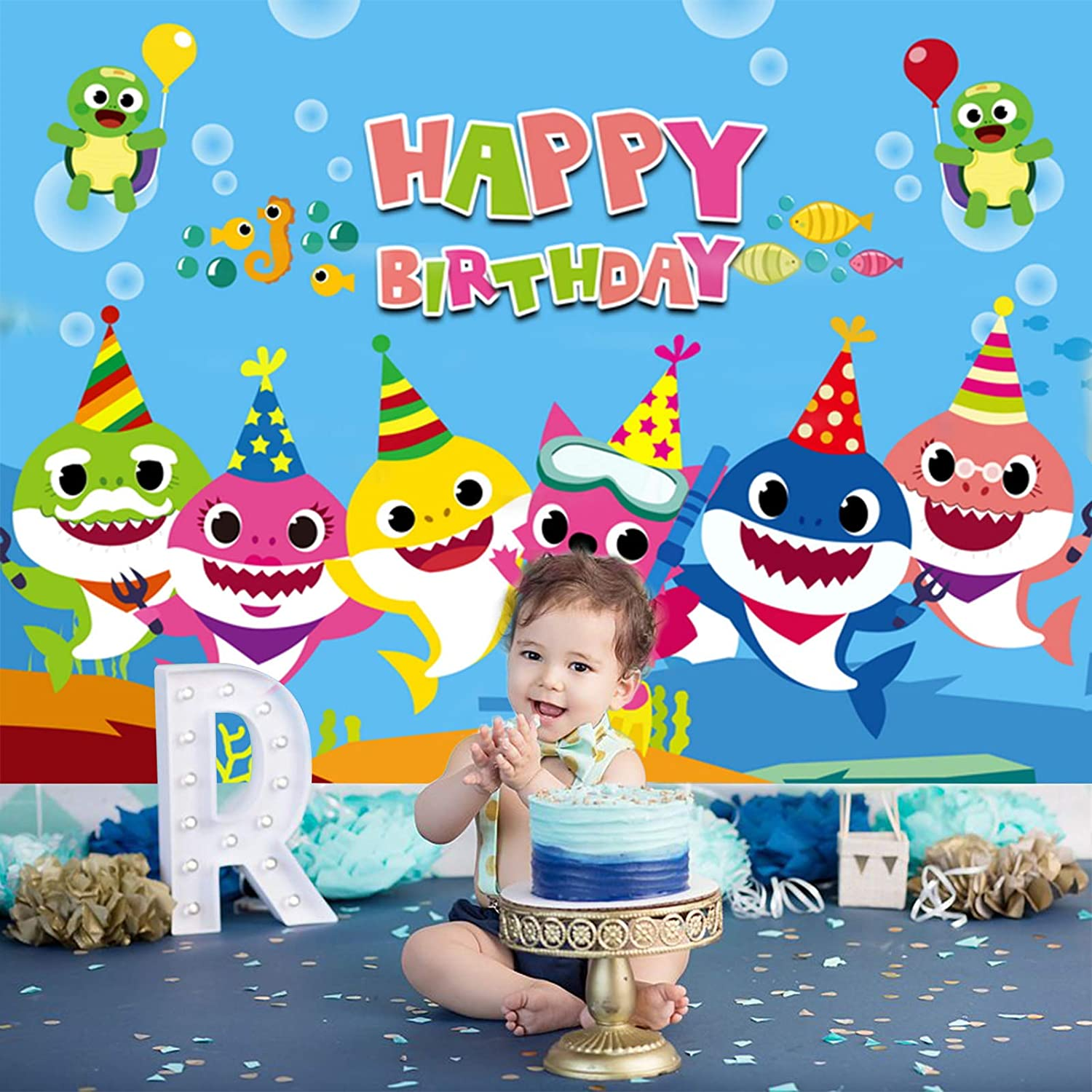 Baby Shark Backdrop Birthday Party Decorations Background Undersea World Shark Theme Party Supplies Banner Cake Table Decor Vinyl Photography Backdrop for Kids Girls Boys 5x3ft