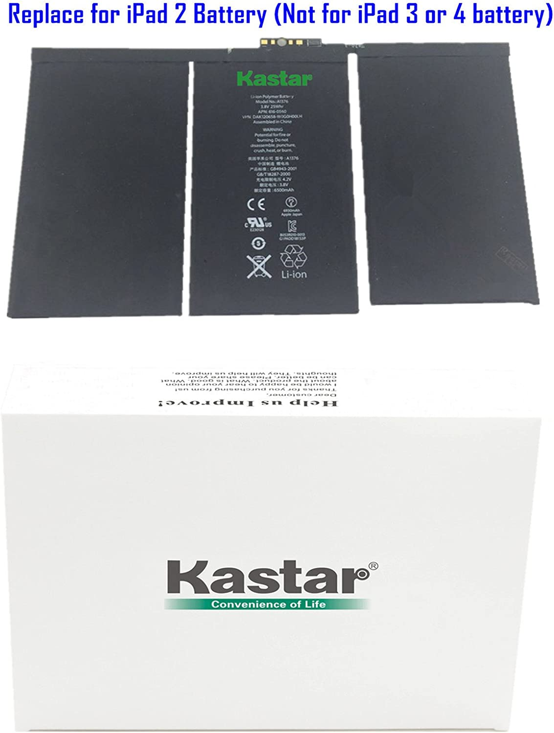 Kastar Battery for iPad 2 2nd Generation A1395 A1396 A1397 A1376