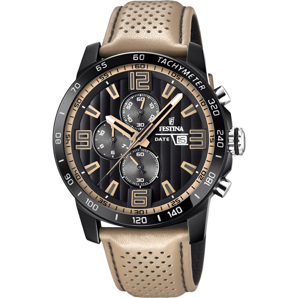 Men's Watch - Festina - F20339/1 - Chronograph - Date - Beige and Black