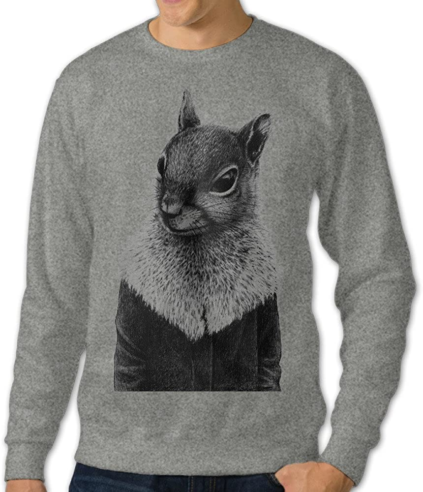 Alipapa Men's Squirrel In Coat Hoodies Ash