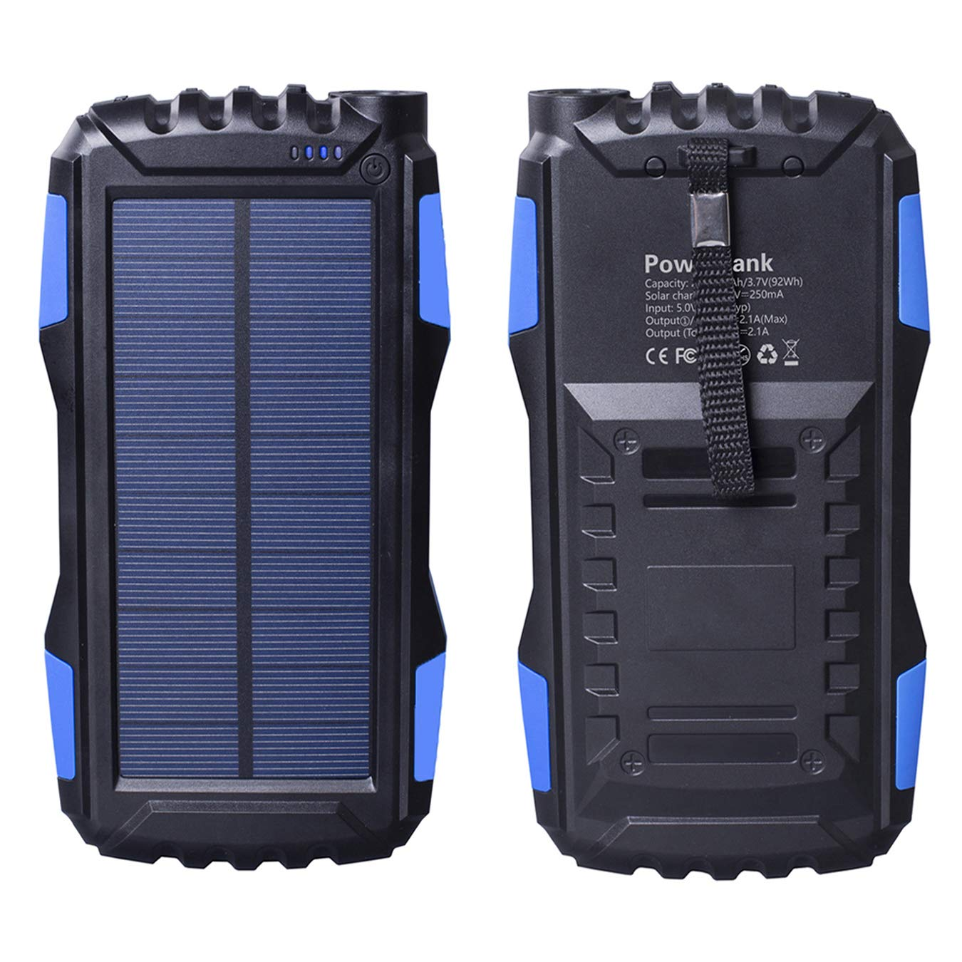Solar Charger, Gootu 25000mAhPortable Solar Power Bankwith Dual USBOutputPorts andLEDFlashlightfor Outdoor & Indoor Use, External Battery Packfor iPhone, iPad, Android Phones and More (Blue)
