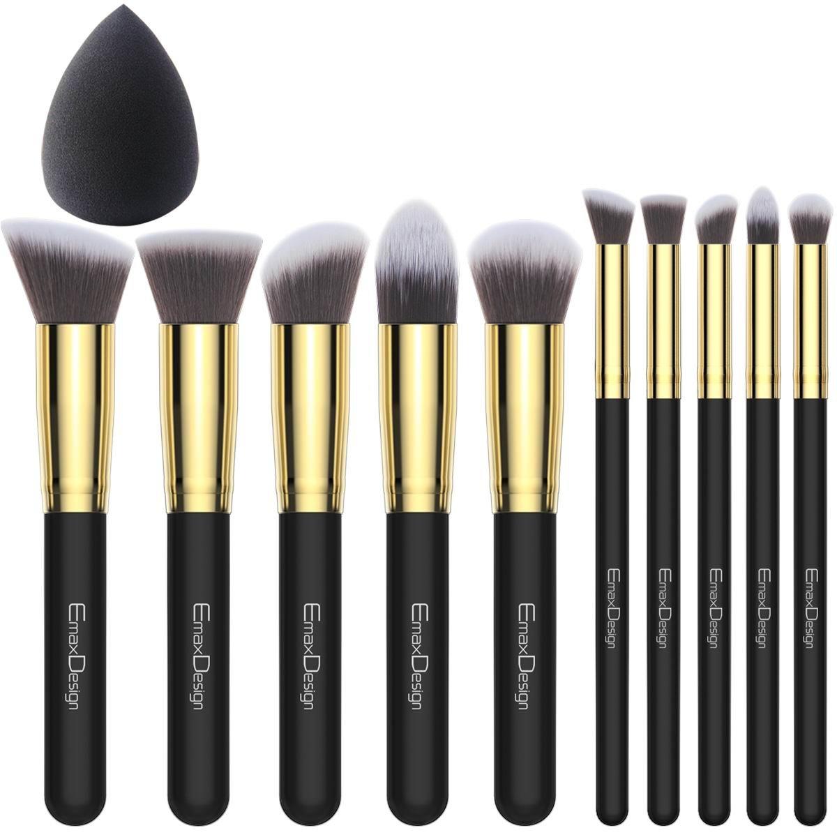 EmaxDesign - Juego de brochas de maquillaje kabuki de fibra sintética para las cejas, base de maquillaje, polvos, crema, incluye bolsa, incluye una esponja de maquillaje product image