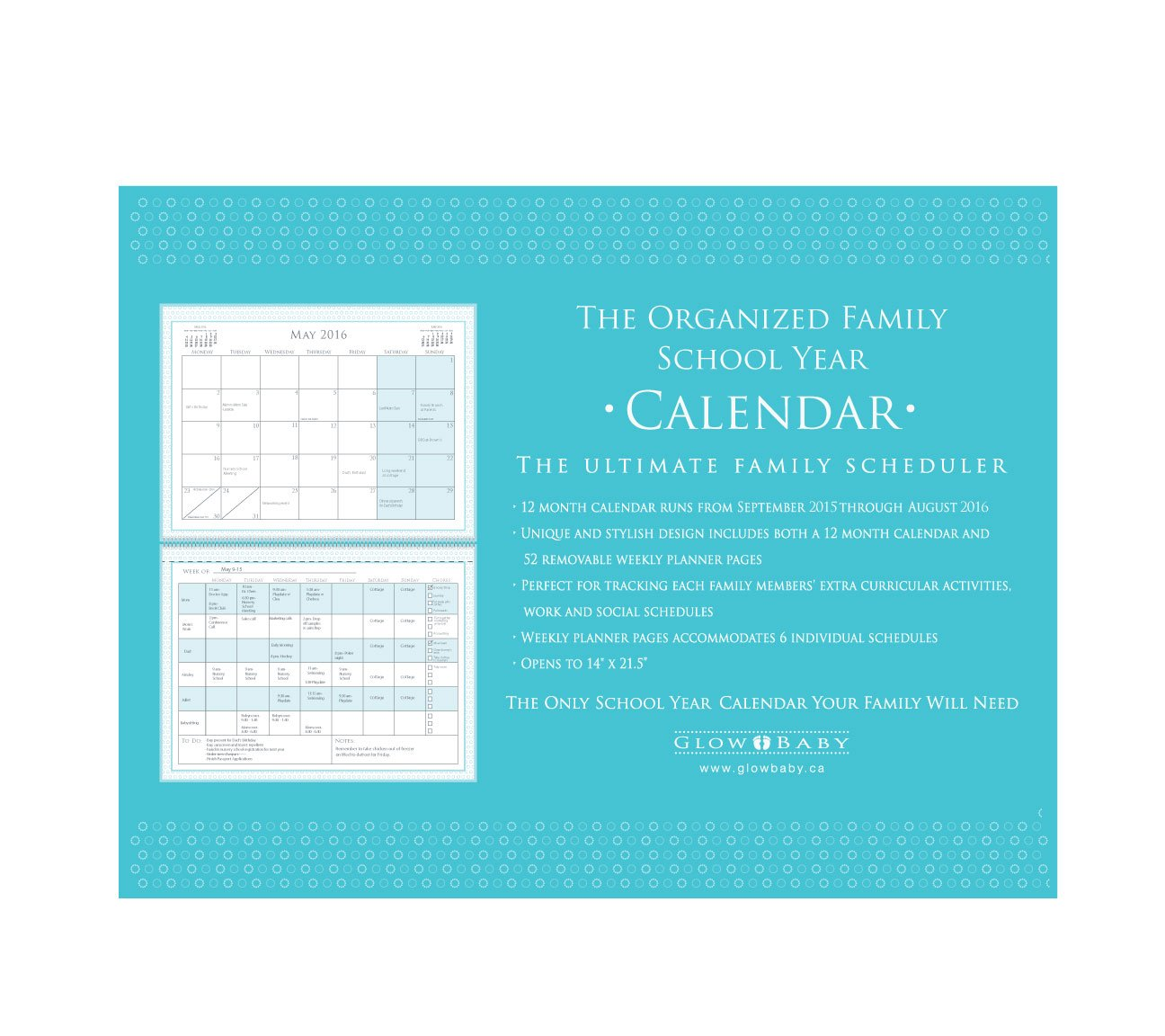 Glow Baby The Organized Family 2015-2016 School Year Calendar (OFSYC15-16) by Glow Baby (Image #2)