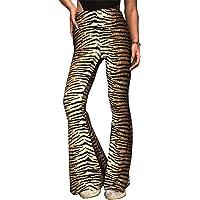 Aventy Women Leopard Snakeskin Print High Waist Flare Pants Lady Floor-Length Bell Bottom Casual Wide Leg Palazzo…