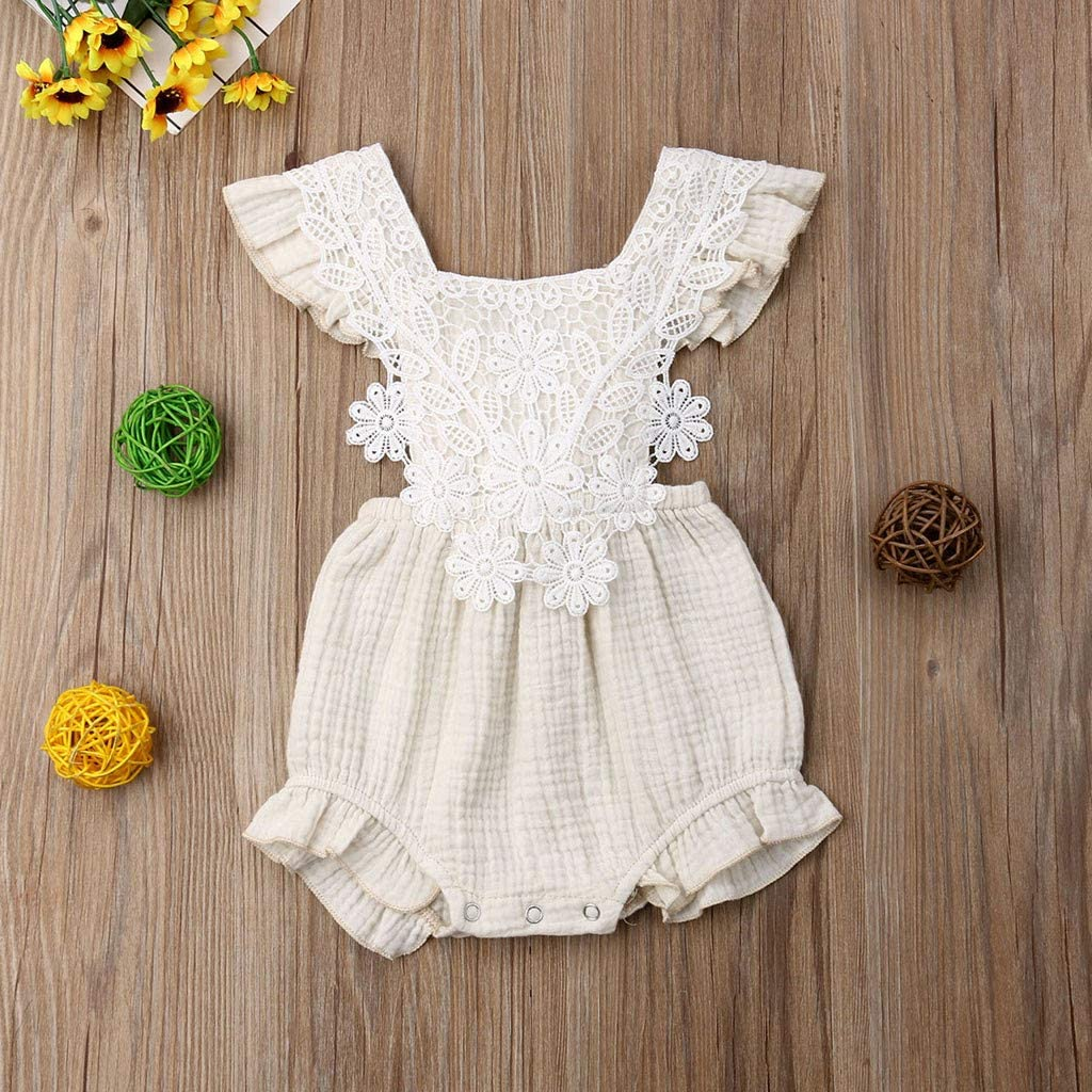 SANGQU 0-24M Toddler Baby Girls Jumpsuit Lace Sleeveless Solid Ruffled Romper