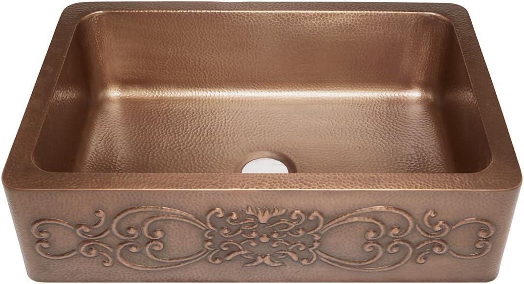 Sinkology SK303-33SC Farmhouse Ganku Farmhouse Copper Sink 33 In. Single Bowl Copper Kitchen Sink with Scroll Design