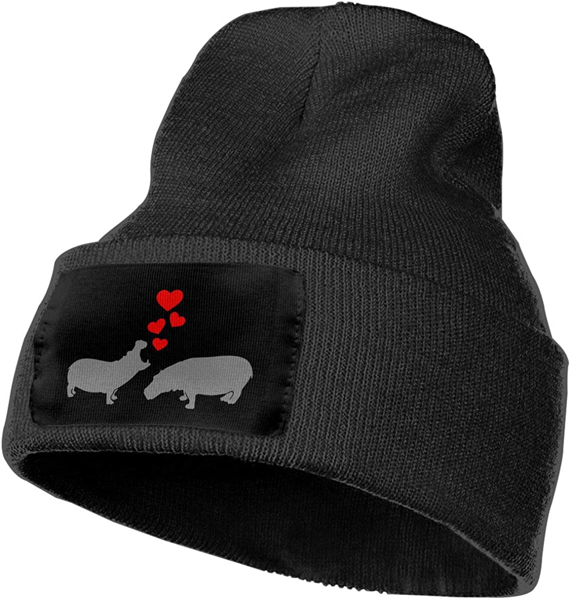 Unisex Hippos in Love Outdoor Stretch Knit Beanies Hat Soft Winter Skull Caps