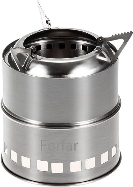 Forfar Estufa de Campaña Portable Hornillo de Acampada de Leña, Alcohol, Carbón Fogón Acero Inoxidable para Uso de Cocina, Campamento, Aire Libre, ...