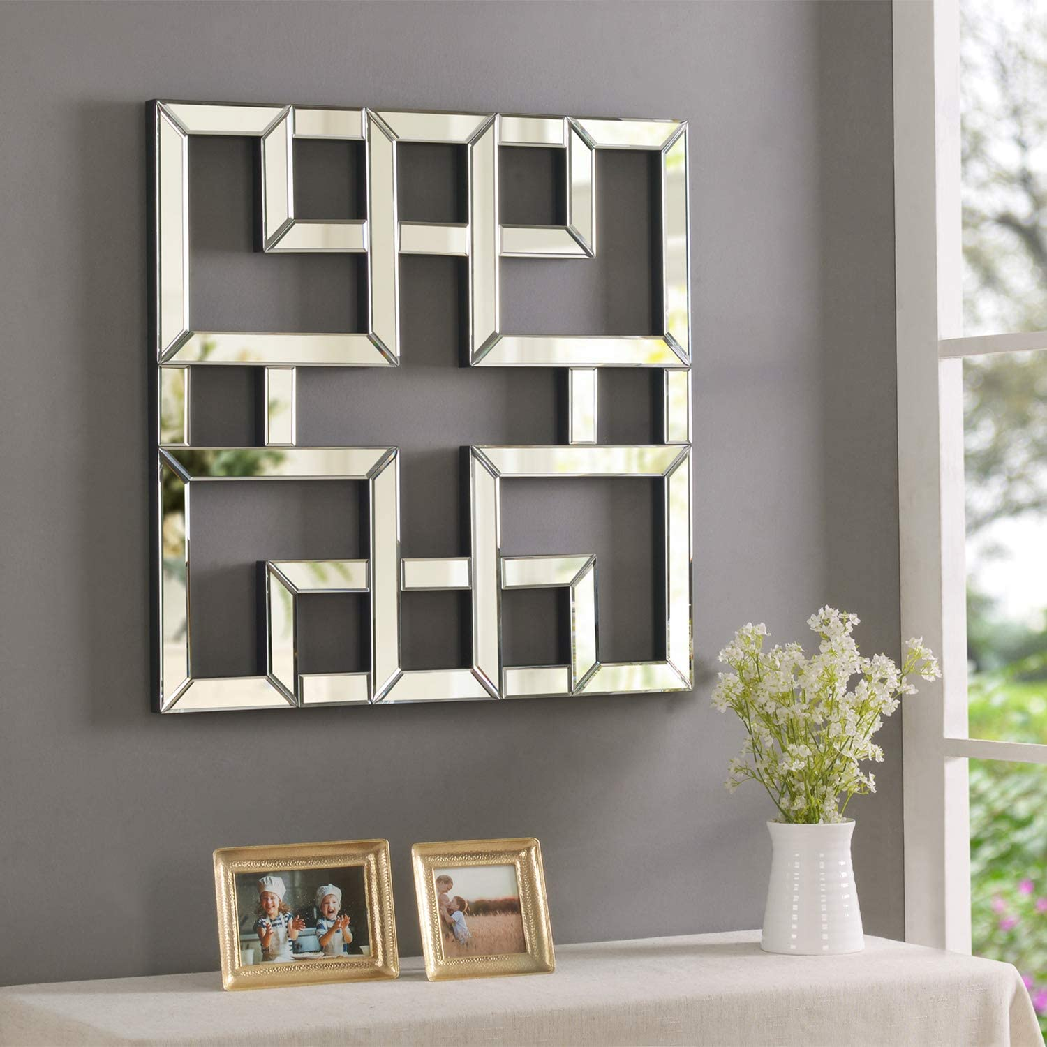 MOTINI Accent Wall Mirror Wall Art Decor Geometric Art Wall Mounted Mirrors for Wall Abstract Artwork Square Mirror for Foyer, Living Room, Entryway, Hallway Home Decor, 25