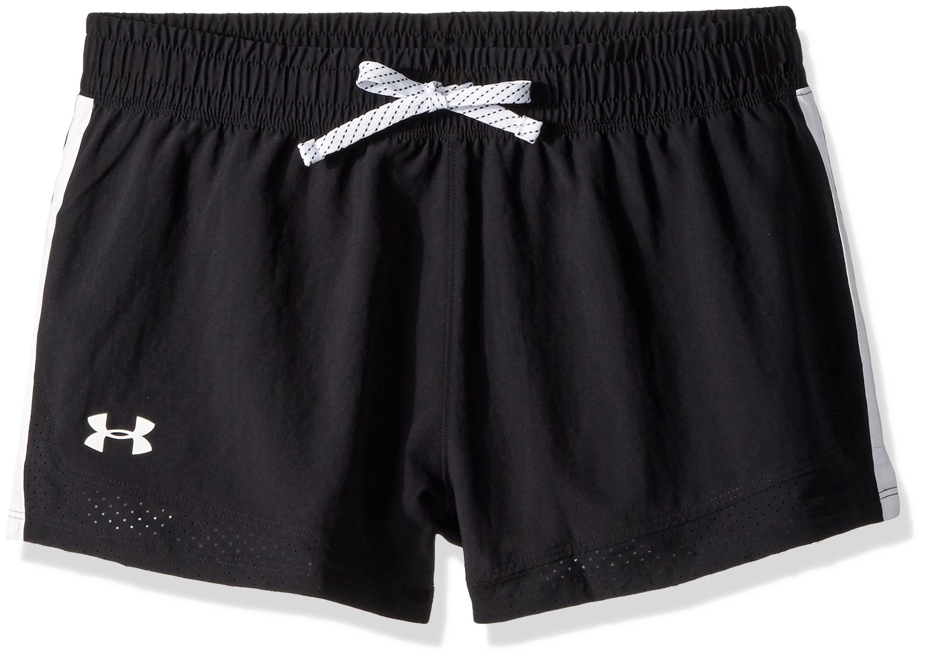 Under Armour Girls' Sprint Shorts, Black (001)/White, Youth Small