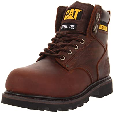 Caterpillar Mens Second Shift Steel Toe Work Boot      Dark Brown      7