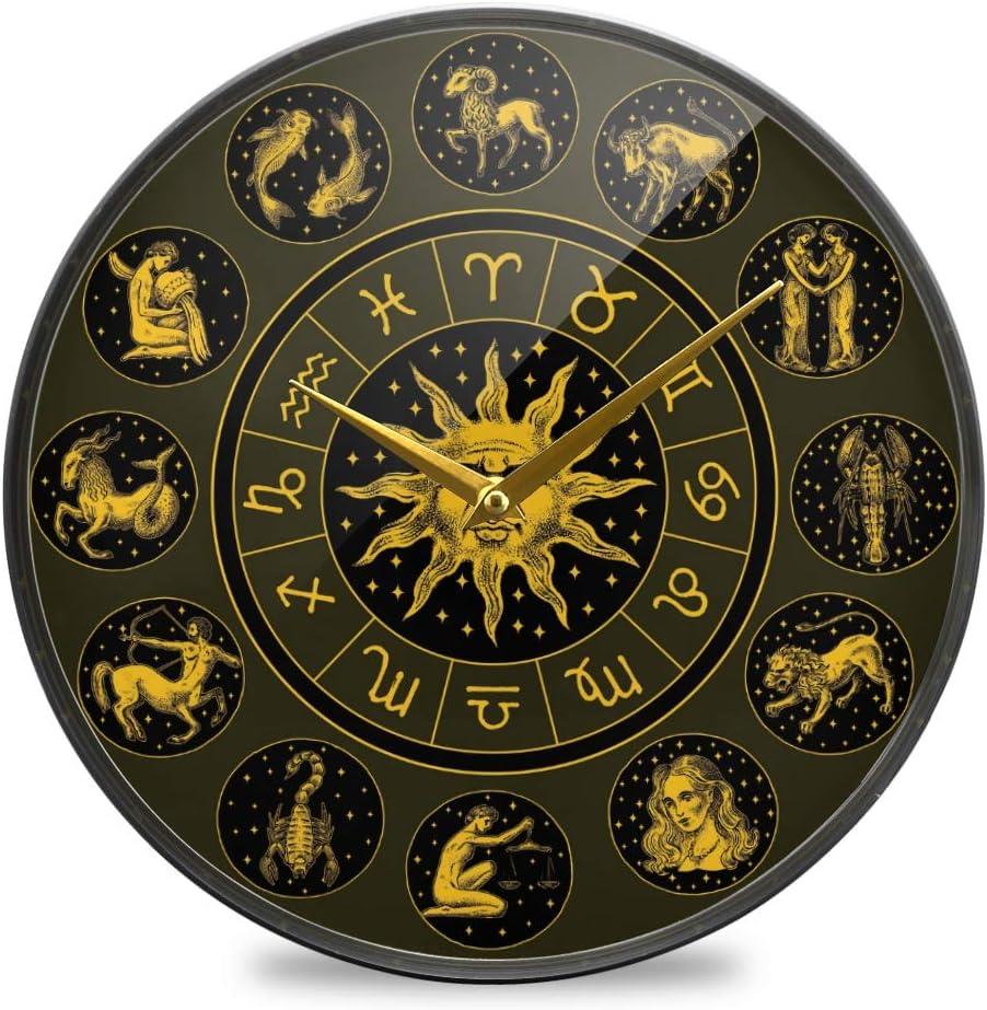 Amazon Com Vvfelixl Zodiac Wheel Astrology Horoscope Sun Calendar Template Wall Clock Battery Operated Silent Acrylic 12 Round Mute Quiet Desk Clock Decoration Home Decor Living Room Modern Home Kitchen