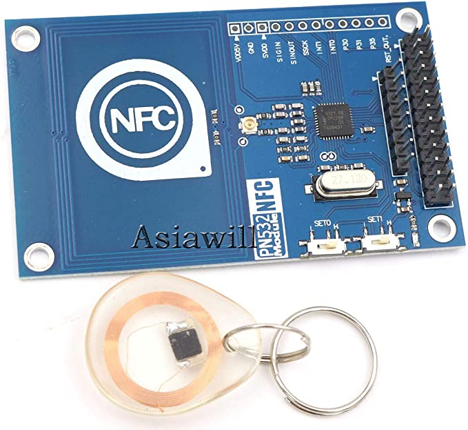 Asiawill 13,56 mhz PN532 on-board antena NFC/RFID módulo con de tarjetas inteligentes para Arduino/Compatible con Raspberry Pi