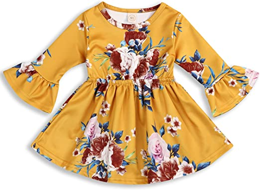 Toddler Kids Baby Girls Clothes Dress Outfit Ruffle Tops Floral Skirt Age 1-4Y