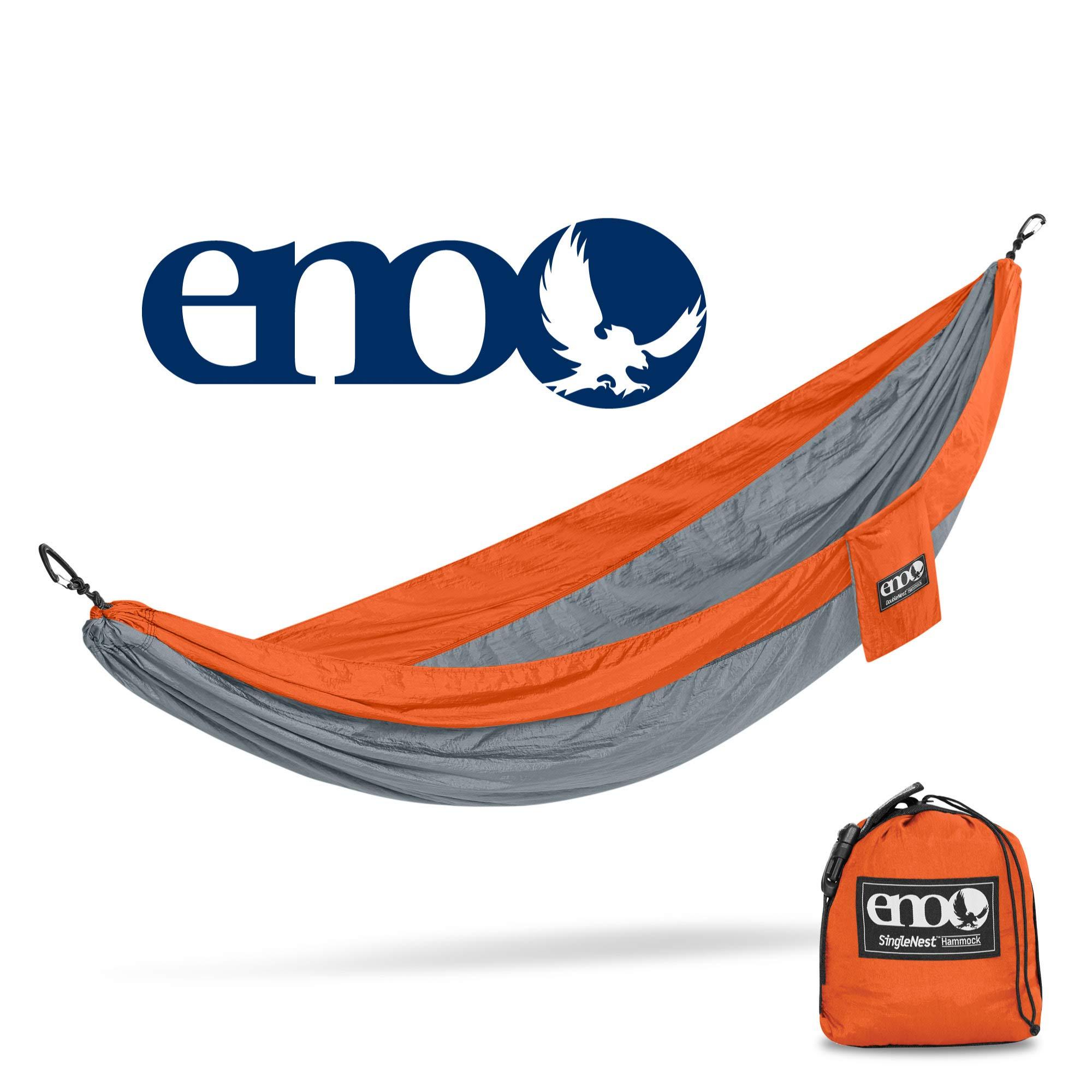 ENO - Eagles Nest Outfitters SingleNest Hammock, Portable Hammock for One, Orange/Grey