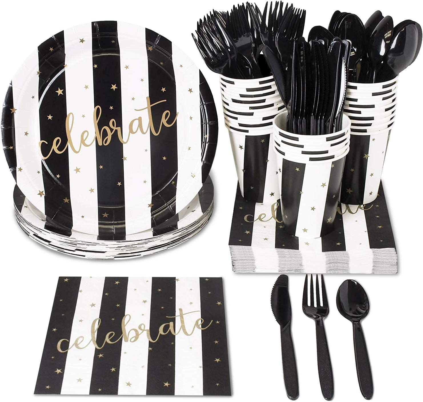 Celebratory Black and White Party Bundle, Includes Paper Plates, Napkins, Cups, and Cutlery (Serves 24, 144-Pieces)
