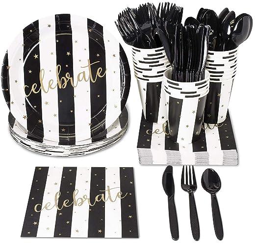 Vajilla desechable con cubiertos de plástico: cuchillos, cucharas, tenedores, platos de papel, servilletas, vasos (para 24 personas).