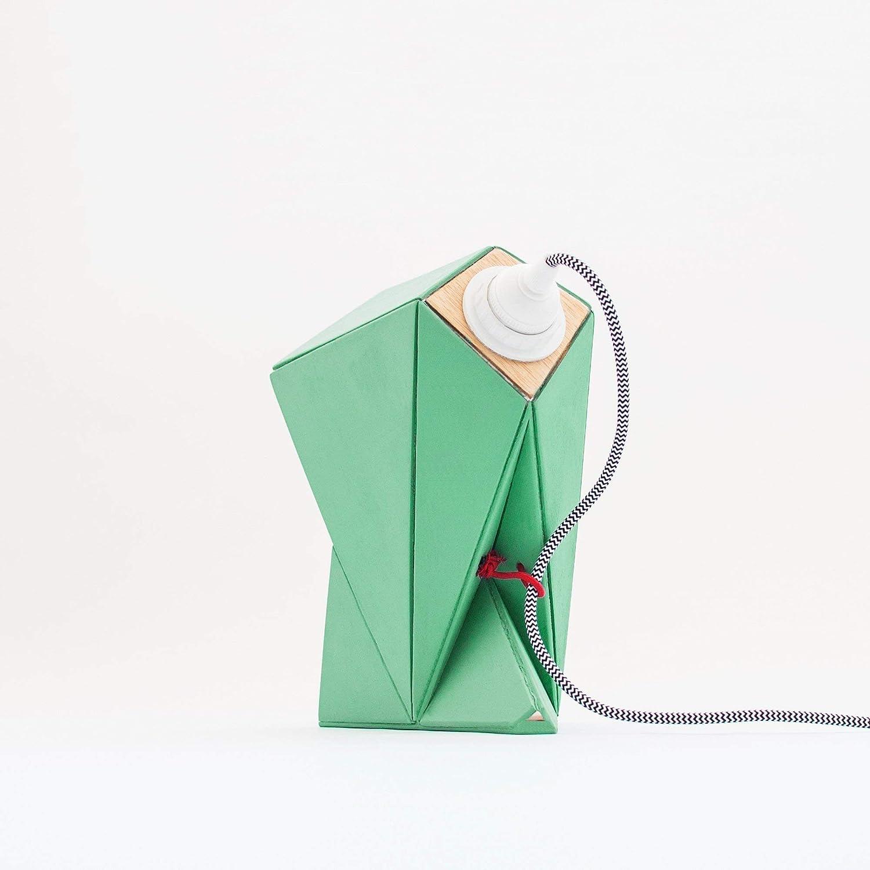 Lámpara de mesa de madera y papel estilo origami diseño geométrico ...