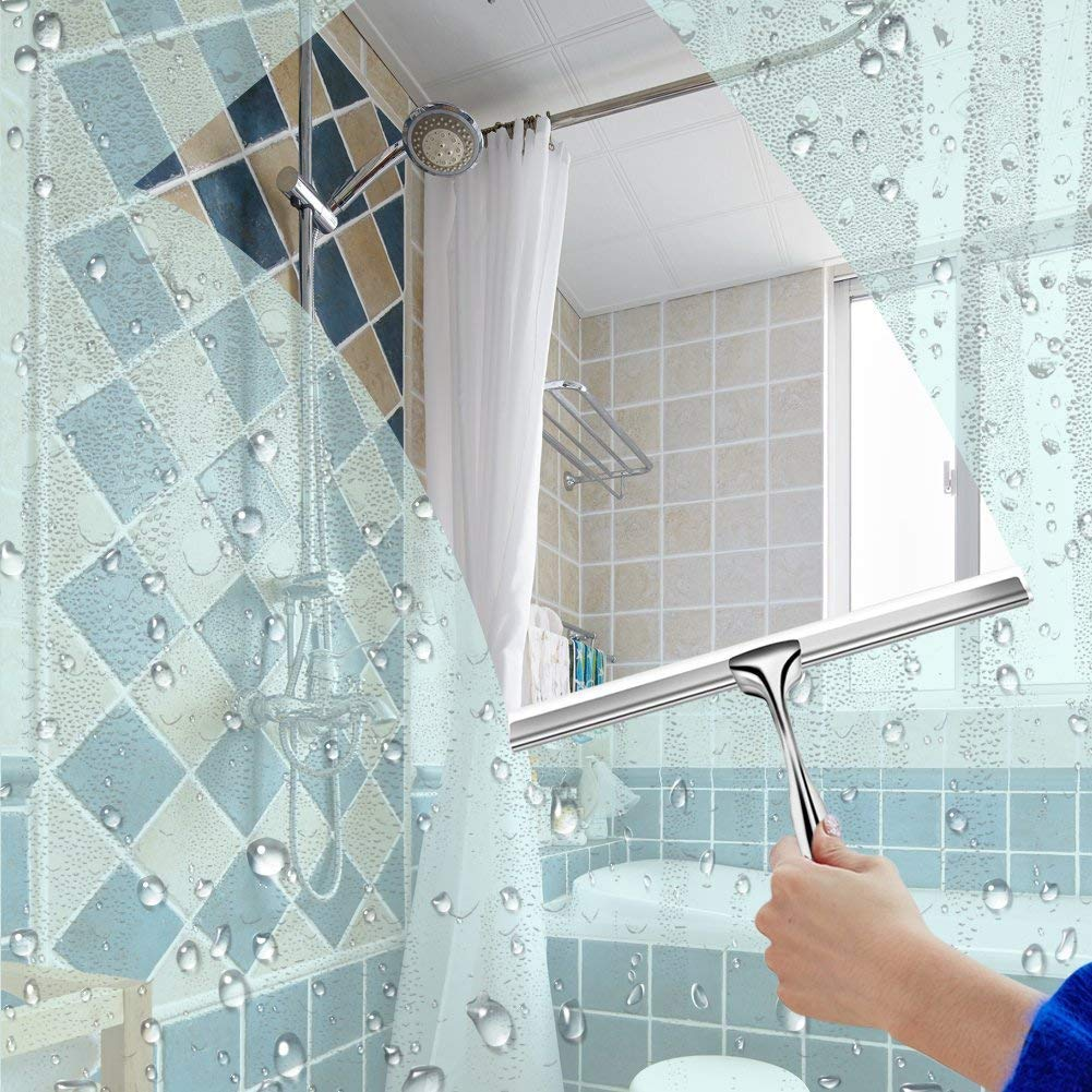 Clearance Sale!UMFun Stainless Steel Window Glass Wiper Cleaner Squeegee Shower Bathroom Mirror Brush 25x17cm