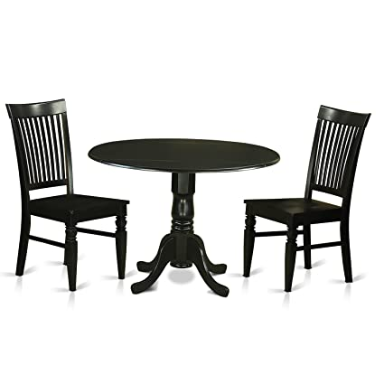 3 piece dinette set kitchen table east west furniture dlwe3blkw piece dinette table and dining room amazoncom