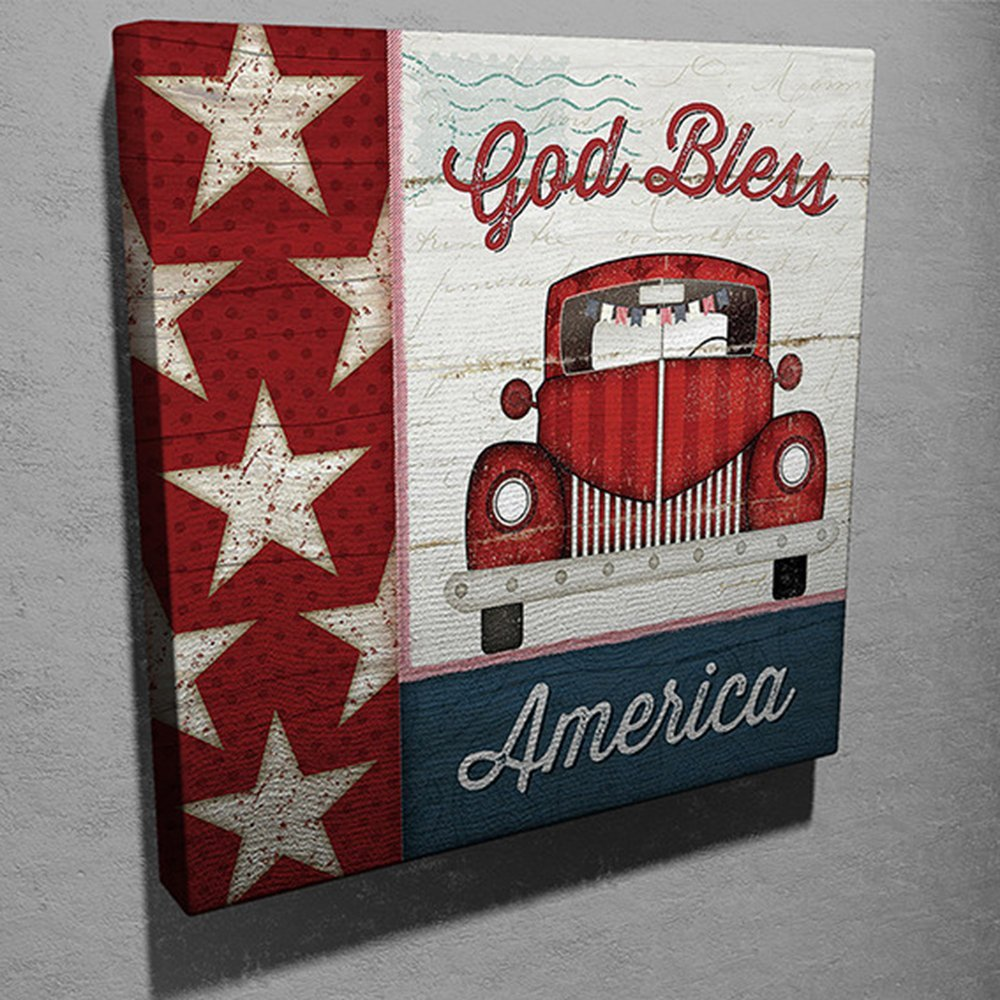 LaModaHome Decorative Canvas Wall Art (17.5'' x 17.5'') Wooden Thick Frame Painting God Bless America Flag Car Desisgn Old Fashioned